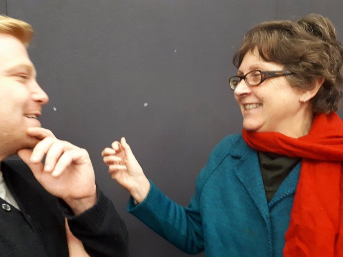 Christine Davey giving directorial advice to actor Jules Hart. (002)